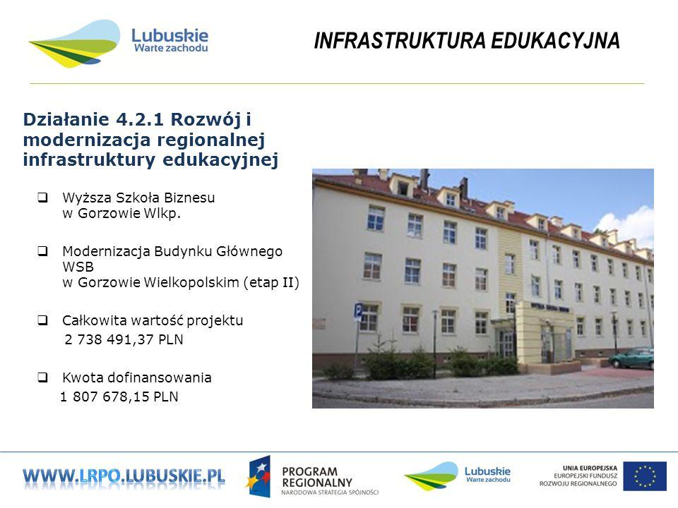 INFRASTRUKTURA EDUKACYJNA Działanie 4.2.1 Rozwój i modernizacja regionalnej infrastruktury edukacyjnej Wyższa Szkoła Biznesu w Gorzowie Wlkp.