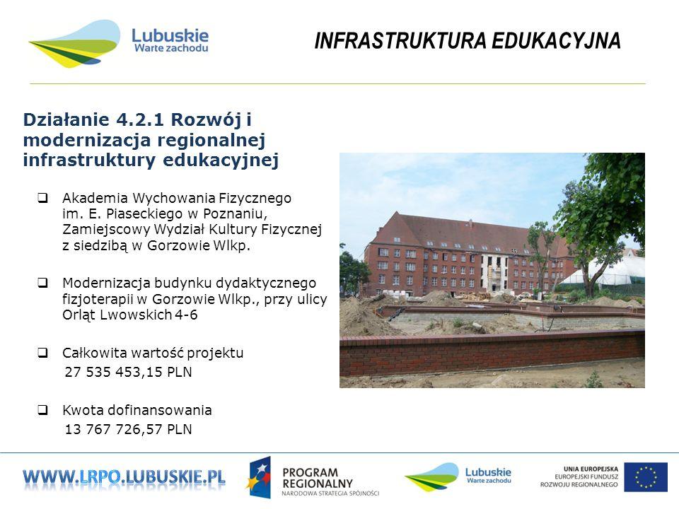 INFRASTRUKTURA EDUKACYJNA Działanie 4.2.1 Rozwój i modernizacja regionalnej infrastruktury edukacyjnej Akademia Wychowania Fizycznego im.