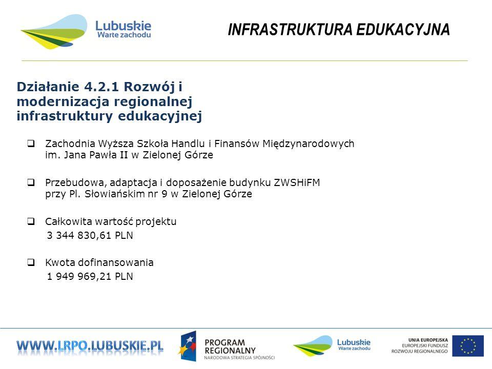 INFRASTRUKTURA EDUKACYJNA Działanie 4.2.1 Rozwój i modernizacja regionalnej infrastruktury edukacyjnej Zachodnia Wyższa Szkoła Handlu i Finansów Międzynarodowych im.