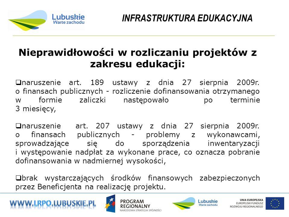 INFRASTRUKTURA EDUKACYJNA Nieprawidłowości w rozliczaniu projektów z zakresu edukacji: naruszenie art.
