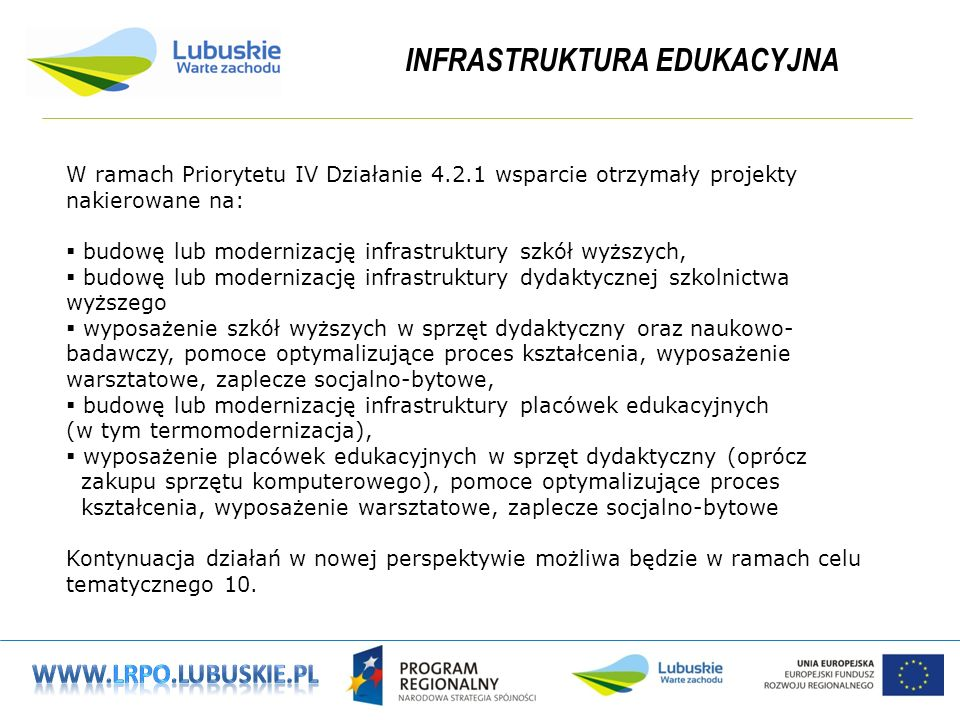 INFRASTRUKTURA EDUKACYJNA W ramach Priorytetu IV Działanie 4.2.1 wsparcie otrzymały projekty nakierowane na: budowę lub modernizację infrastruktury szkół wyższych, budowę lub modernizację infrastruktury dydaktycznej szkolnictwa wyższego wyposażenie szkół wyższych w sprzęt dydaktyczny oraz naukowo- badawczy, pomoce optymalizujące proces kształcenia, wyposażenie warsztatowe, zaplecze socjalno-bytowe, budowę lub modernizację infrastruktury placówek edukacyjnych (w tym termomodernizacja), wyposażenie placówek edukacyjnych w sprzęt dydaktyczny (oprócz zakupu sprzętu komputerowego), pomoce optymalizujące proces kształcenia, wyposażenie warsztatowe, zaplecze socjalno-bytowe Kontynuacja działań w nowej perspektywie możliwa będzie w ramach celu tematycznego 10.
