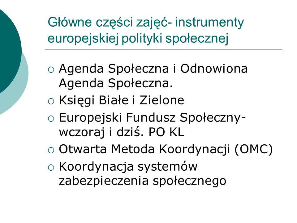Główne części zajęć Najważniejsze wyzwania społeczne w krajach UE i w Polsce Między liberalizmem a europejskim modelem społecznym – nowy ład Ściślejsza integracja, a przyszły kształt Europy socjalnej Parlament wobec wyzwań społecznych w Polsce i Europie