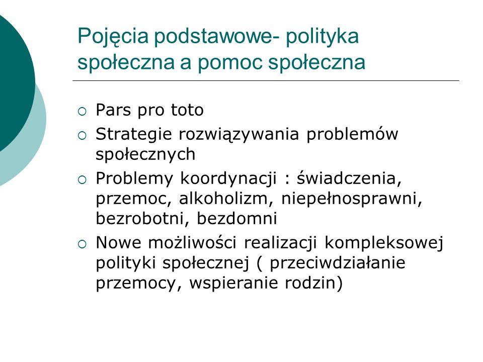Pojęcia podstawowe- polityka społeczna a pomoc społeczna Pars pro toto Strategie rozwiązywania problemów społecznych Problemy koordynacji : świadczeni