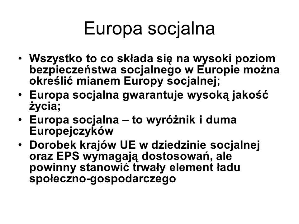 Europa socjalna Wszystko to co składa się na wysoki poziom bezpieczeństwa socjalnego w Europie można określić mianem Europy socjalnej; Europa socjalna