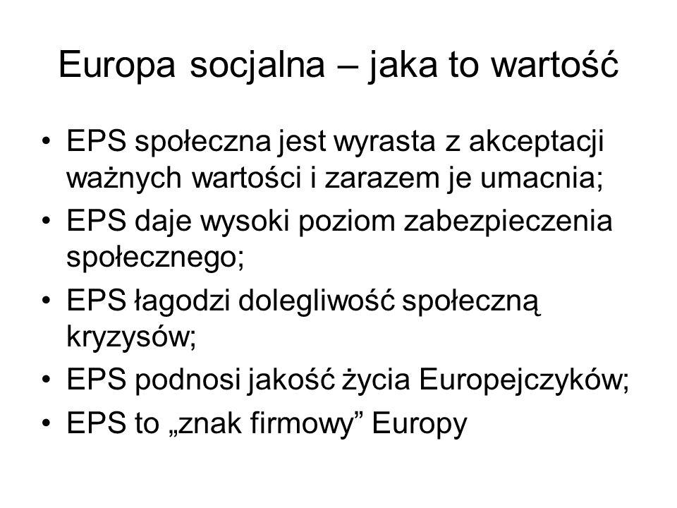 Europa socjalna – jaka to wartość EPS społeczna jest wyrasta z akceptacji ważnych wartości i zarazem je umacnia; EPS daje wysoki poziom zabezpieczenia