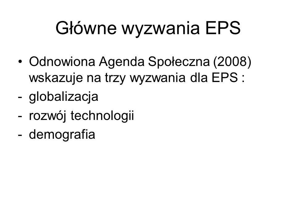Główne wyzwania EPS Odnowiona Agenda Społeczna (2008) wskazuje na trzy wyzwania dla EPS : -globalizacja -rozwój technologii -demografia