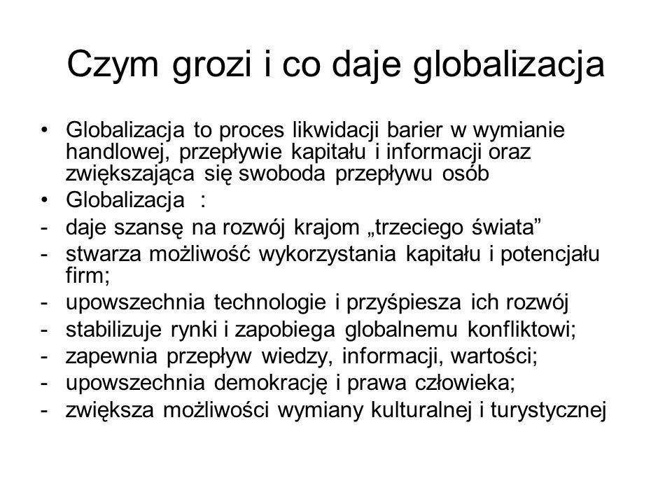 Czym grozi i co daje globalizacja Globalizacja to proces likwidacji barier w wymianie handlowej, przepływie kapitału i informacji oraz zwiększająca si