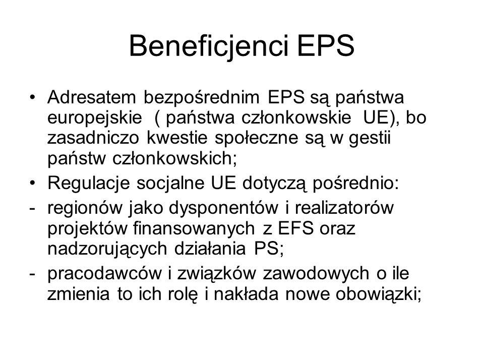 Beneficjenci EPS Adresatem bezpośrednim EPS są państwa europejskie ( państwa członkowskie UE), bo zasadniczo kwestie społeczne są w gestii państw czło