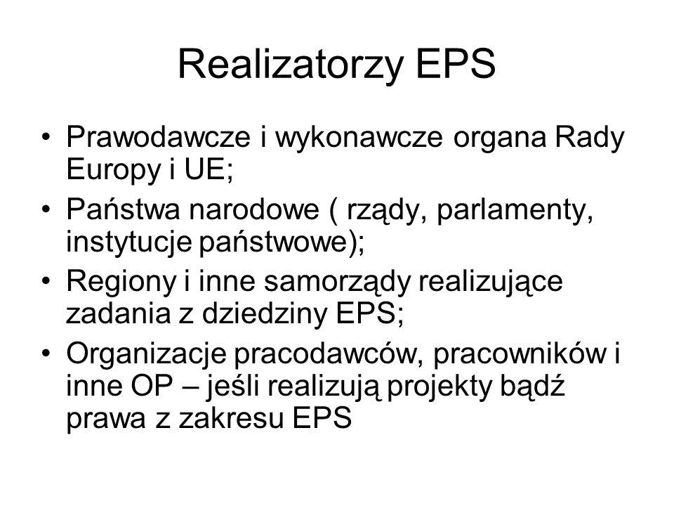Realizatorzy EPS Prawodawcze i wykonawcze organa Rady Europy i UE; Państwa narodowe ( rządy, parlamenty, instytucje państwowe); Regiony i inne samorzą