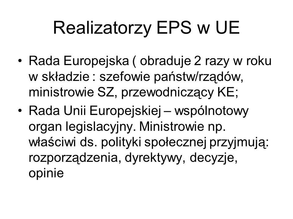Realizatorzy EPS w UE Rada Europejska ( obraduje 2 razy w roku w składzie : szefowie państw/rządów, ministrowie SZ, przewodniczący KE; Rada Unii Europ