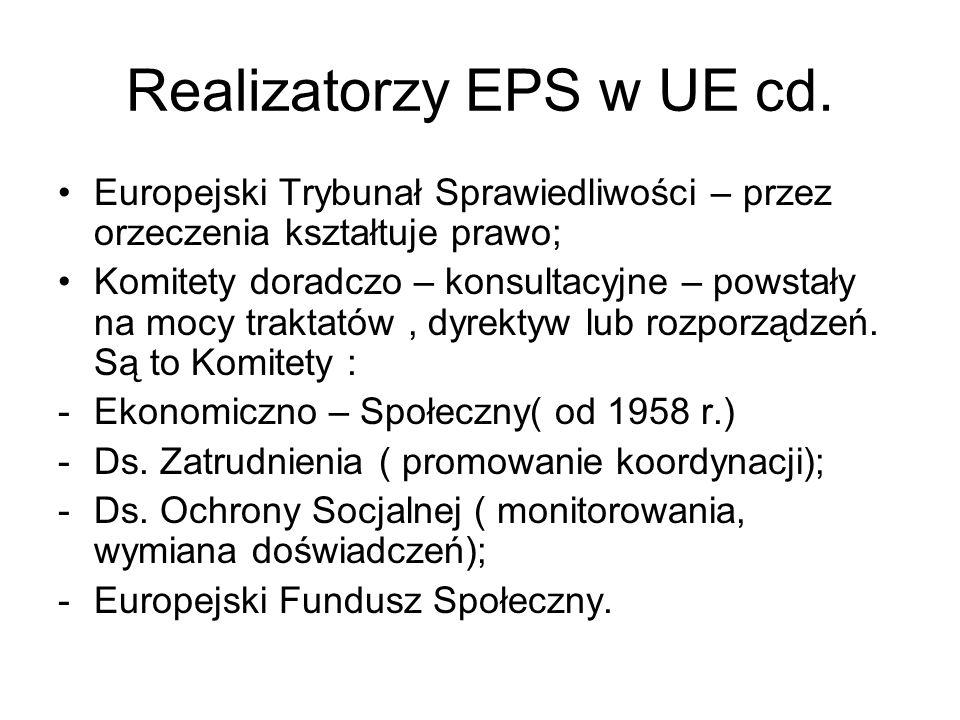 Realizatorzy EPS w UE cd. Europejski Trybunał Sprawiedliwości – przez orzeczenia kształtuje prawo; Komitety doradczo – konsultacyjne – powstały na moc