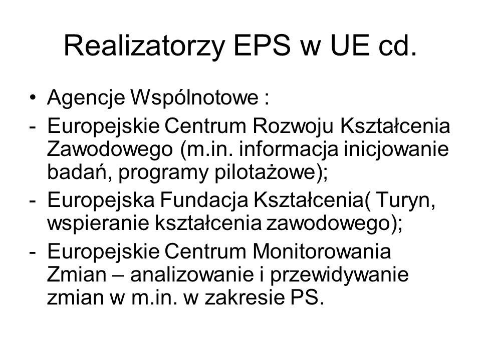 Realizatorzy EPS w UE cd. Agencje Wspólnotowe : -Europejskie Centrum Rozwoju Kształcenia Zawodowego (m.in. informacja inicjowanie badań, programy pilo