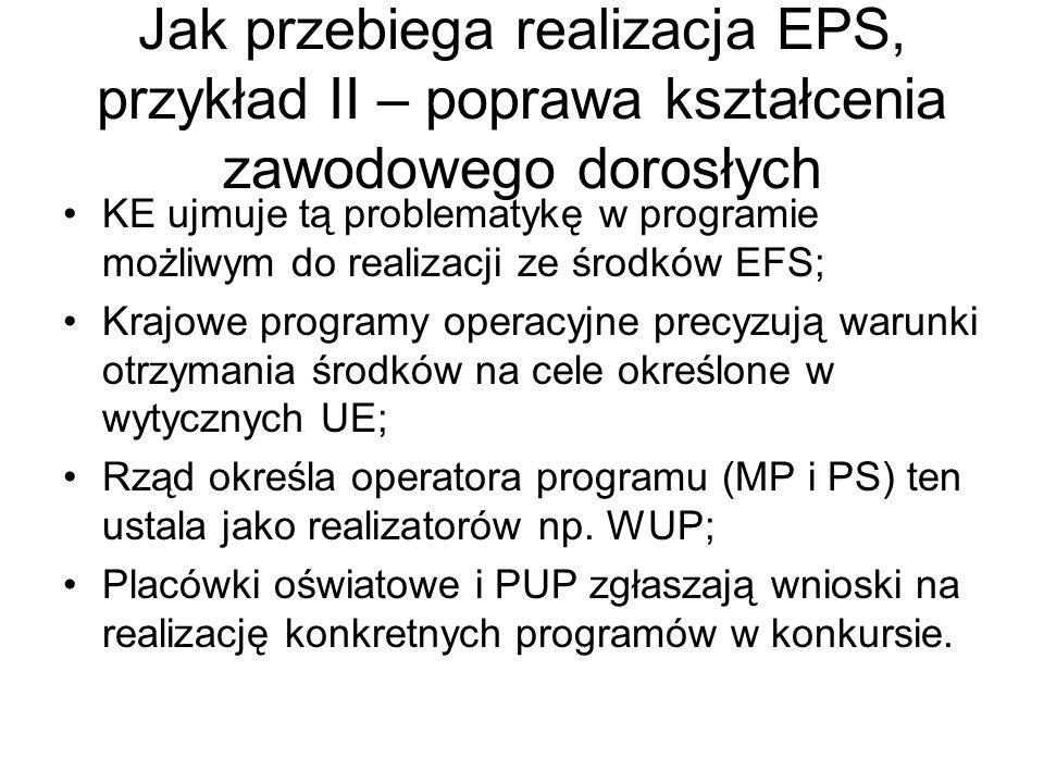 Jak przebiega realizacja EPS, przykład II – poprawa kształcenia zawodowego dorosłych KE ujmuje tą problematykę w programie możliwym do realizacji ze ś