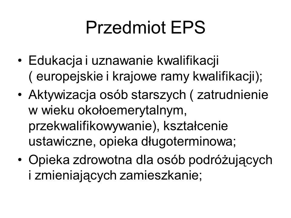 Jak przebiega realizacja EPS, przykład I : rady pracownicze KE, PE i REuropejska uzgadniają projekt dyrektywy ws.rad pracowniczych; Państwa narodowe ( rządy i parlamenty zgłaszają swoje uwagi zwłaszcza co do przestrzegania zasady pomocniczości); PE uchwala dyrektywę o radach pracowniczych; Rządy narodowe przygotowują prawo dostosowujące przepisy krajowe do dyrektywy; Parlamenty krajowe uchwalają przepisy realizujące zalecenia dyrektywy; Przepisy krajowe są oceniane przez władze UE co do zgodności z dyrektywą.