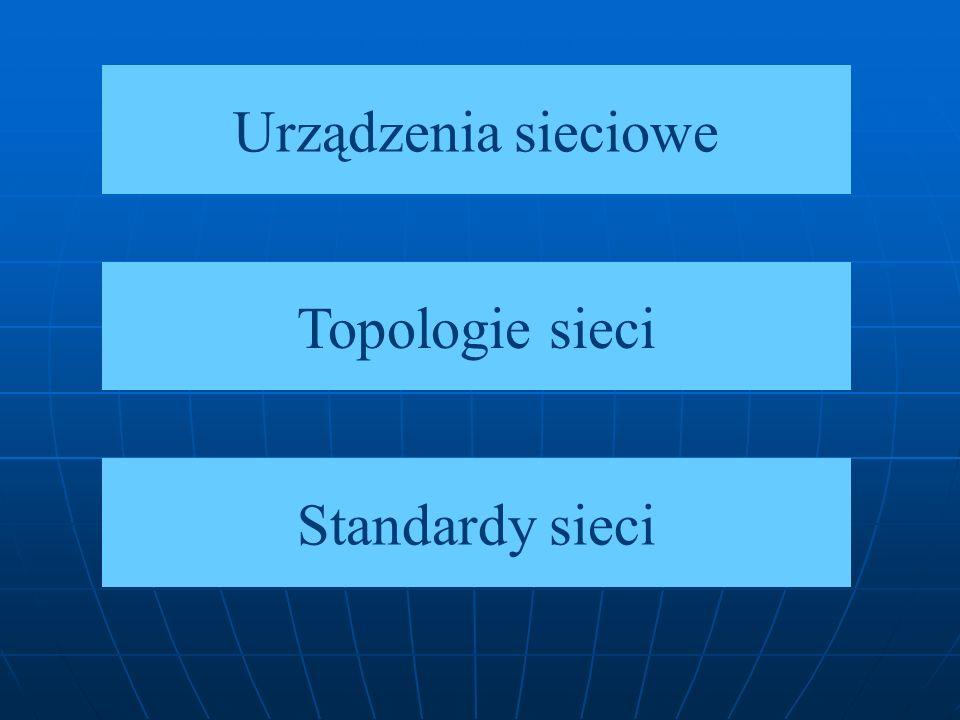 Urządzenia sieciowe Topologie sieci Standardy sieci