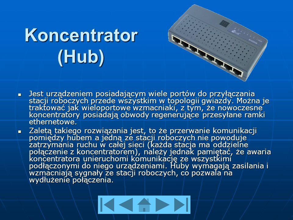 Koncentrator (Hub) Jest urządzeniem posiadającym wiele portów do przyłączania stacji roboczych przede wszystkim w topologii gwiazdy.