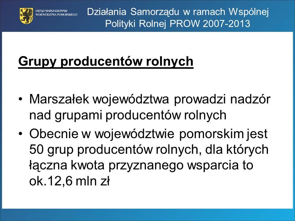 Działania Samorządu w ramach Wspólnej Polityki Rolnej PROW 2007-2013 Grupy producentów rolnych Marszałek województwa prowadzi nadzór nad grupami produ