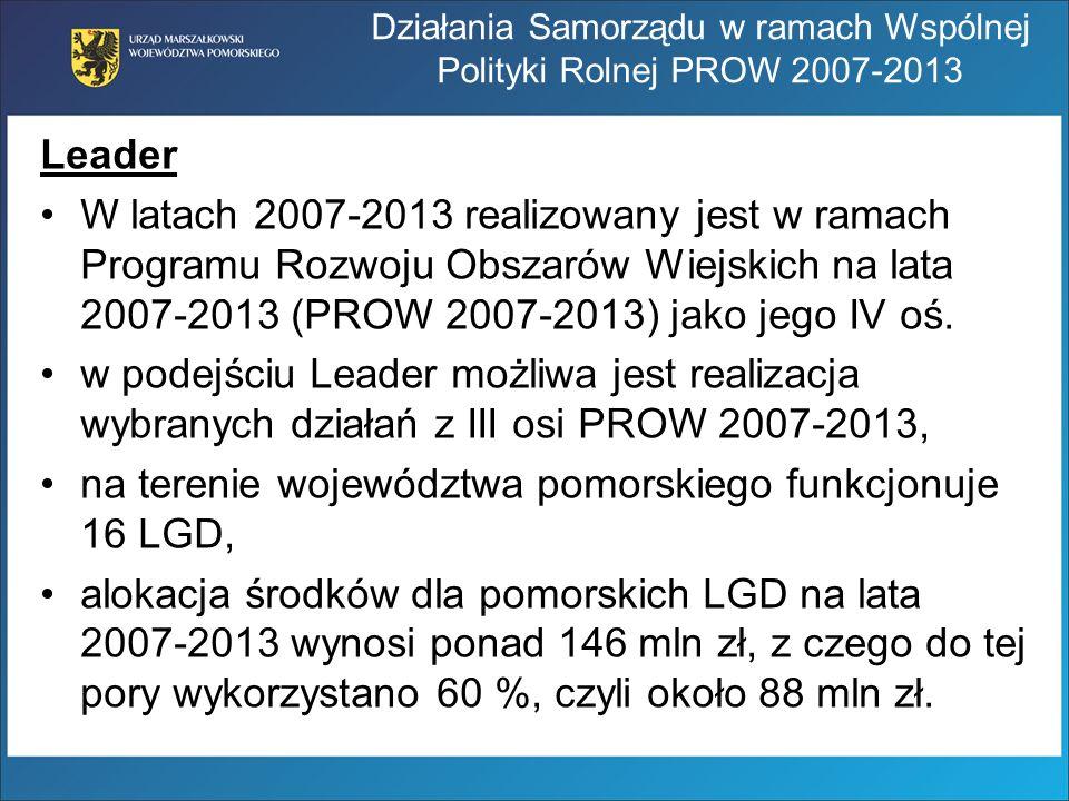 Leader W latach 2007-2013 realizowany jest w ramach Programu Rozwoju Obszarów Wiejskich na lata 2007-2013 (PROW 2007-2013) jako jego IV oś. w podejści