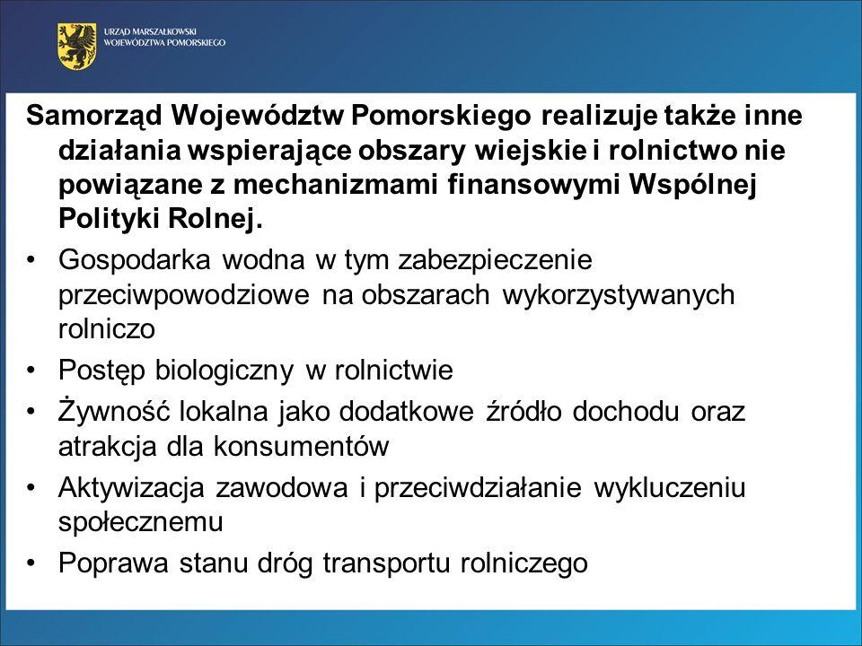 Samorząd Województw Pomorskiego realizuje także inne działania wspierające obszary wiejskie i rolnictwo nie powiązane z mechanizmami finansowymi Wspól