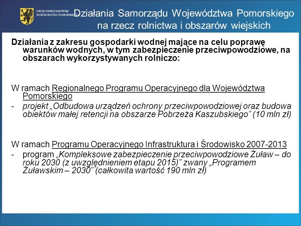 Działania Samorządu Województwa Pomorskiego na rzecz rolnictwa i obszarów wiejskich Działania z zakresu gospodarki wodnej mające na celu poprawę warun