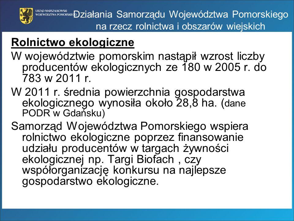 Rolnictwo ekologiczne W województwie pomorskim nastąpił wzrost liczby producentów ekologicznych ze 180 w 2005 r. do 783 w 2011 r. W 2011 r. średnia po