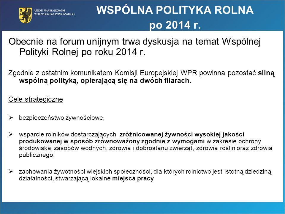 WSPÓLNA POLITYKA ROLNA po 2014 r. Obecnie na forum unijnym trwa dyskusja na temat Wspólnej Polityki Rolnej po roku 2014 r. Zgodnie z ostatnim komunika