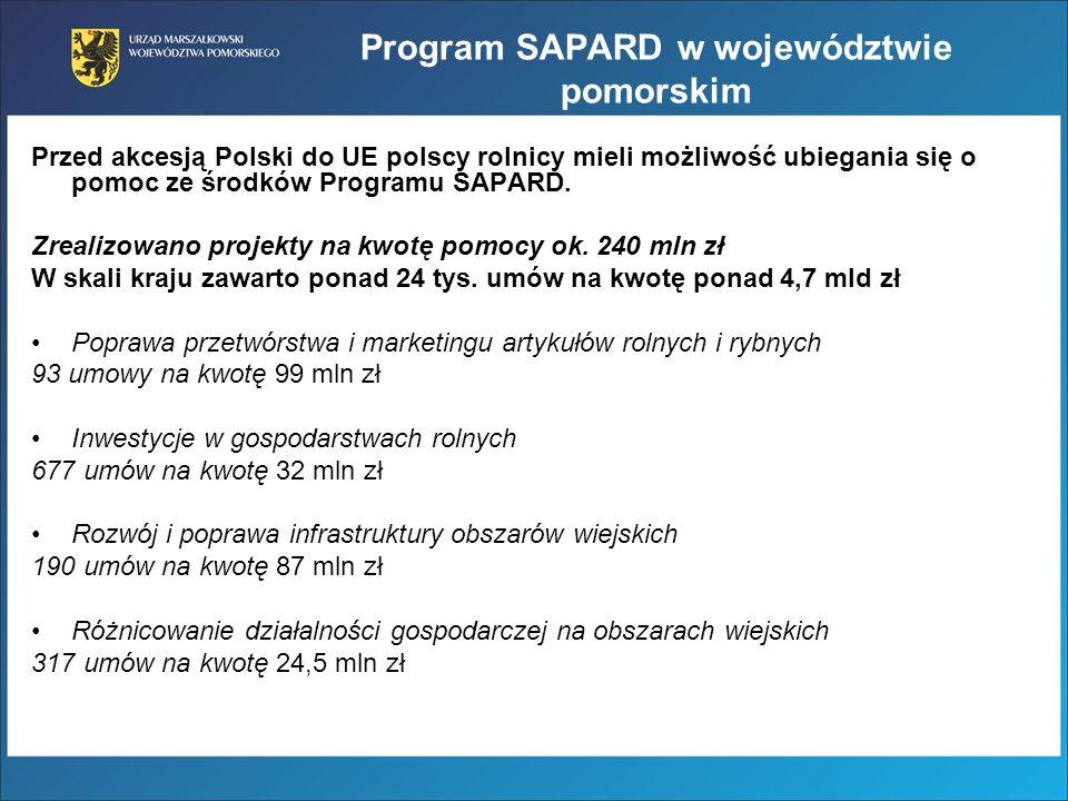 Program SAPARD w województwie pomorskim Przed akcesją Polski do UE polscy rolnicy mieli możliwość ubiegania się o pomoc ze środków Programu SAPARD. Zr