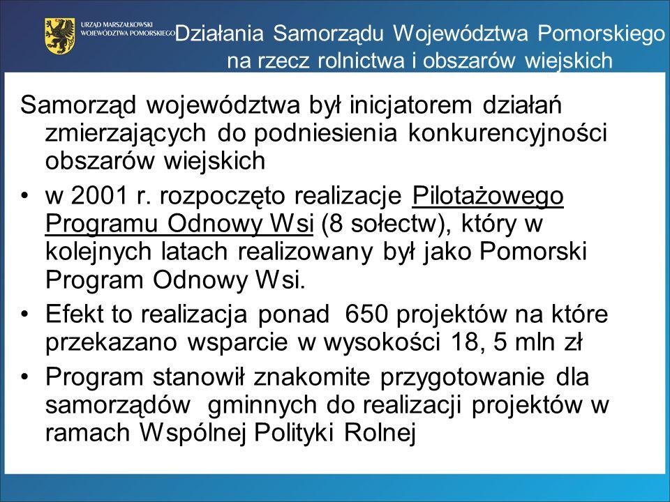 Działania Samorządu Województwa Pomorskiego na rzecz rolnictwa i obszarów wiejskich Samorząd województwa był inicjatorem działań zmierzających do podn