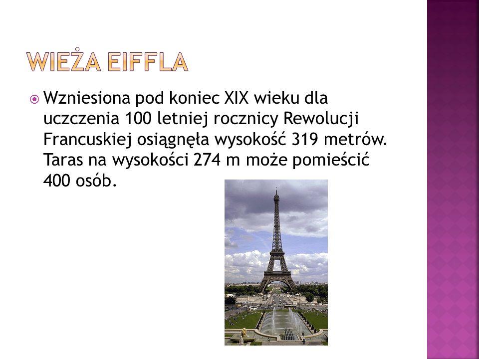 Wzniesiona pod koniec XIX wieku dla uczczenia 100 letniej rocznicy Rewolucji Francuskiej osiągnęła wysokość 319 metrów. Taras na wysokości 274 m może
