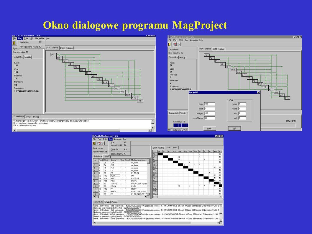 Okno dialogowe programu MagProject