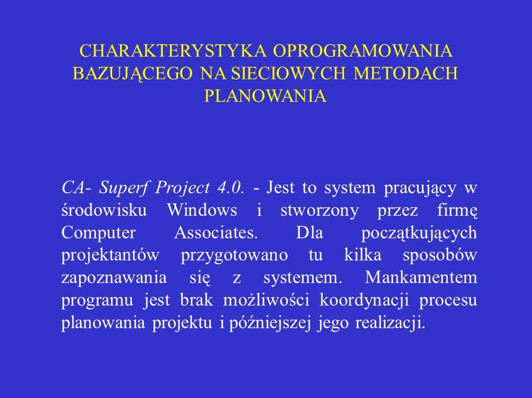CHARAKTERYSTYKA OPROGRAMOWANIA BAZUJĄCEGO NA SIECIOWYCH METODACH PLANOWANIA CA- Superf Project 4.0. - Jest to system pracujący w środowisku Windows i