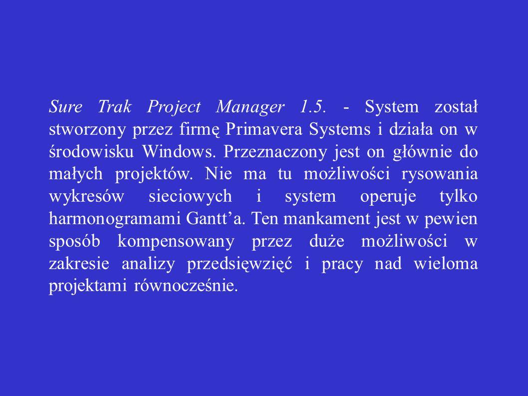 Sure Trak Project Manager 1.5. - System został stworzony przez firmę Primavera Systems i działa on w środowisku Windows. Przeznaczony jest on głównie