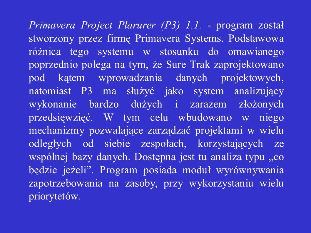 Primavera Project Plarurer (P3) 1.1. - program został stworzony przez firmę Primavera Systems. Podstawowa różnica tego systemu w stosunku do omawianeg