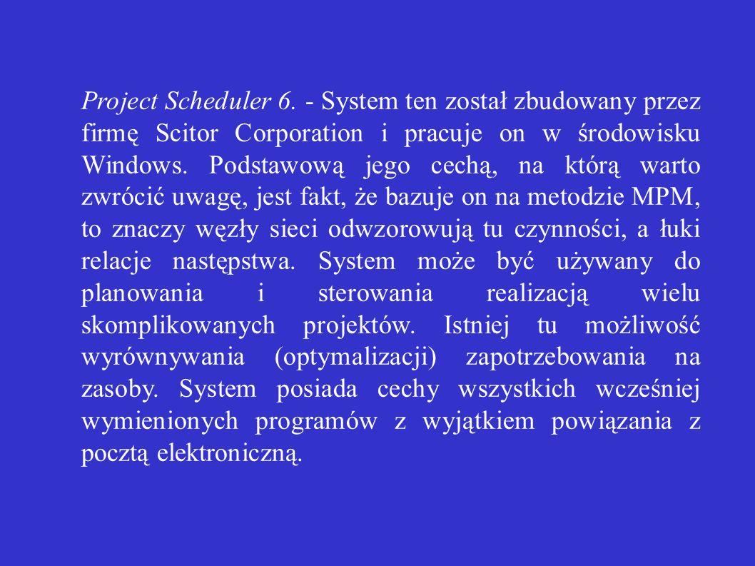 Project Scheduler 6. - System ten został zbudowany przez firmę Scitor Corporation i pracuje on w środowisku Windows. Podstawową jego cechą, na którą w