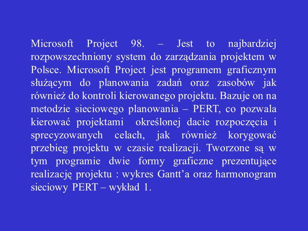 Microsoft Project 98. – Jest to najbardziej rozpowszechniony system do zarządzania projektem w Polsce. Microsoft Project jest programem graficznym słu