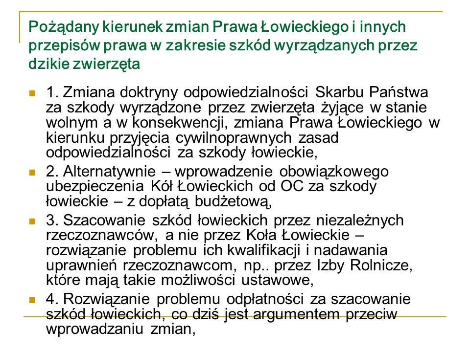 Pożądany kierunek zmian Prawa Łowieckiego i innych przepisów prawa w zakresie szkód wyrządzanych przez dzikie zwierzęta 5.