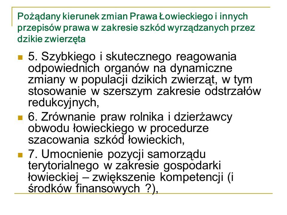 Pożądany kierunek zmian Prawa Łowieckiego i innych przepisów prawa w zakresie szkód wyrządzanych przez dzikie zwierzęta 8.
