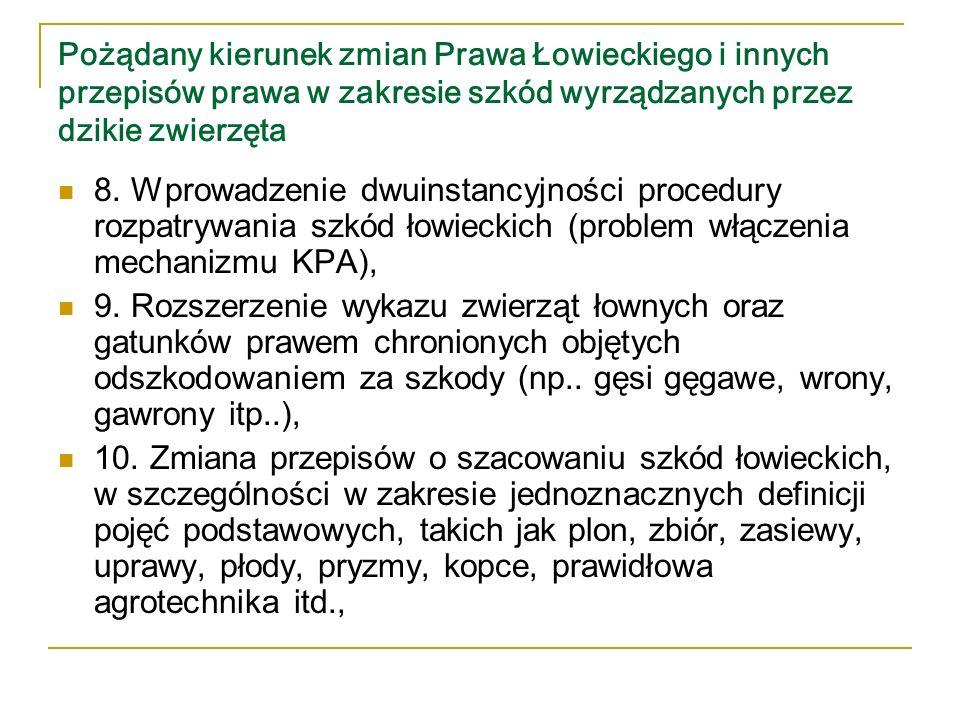 Pożądany kierunek zmian Prawa Łowieckiego i innych przepisów prawa w zakresie szkód wyrządzanych przez dzikie zwierzęta 11.