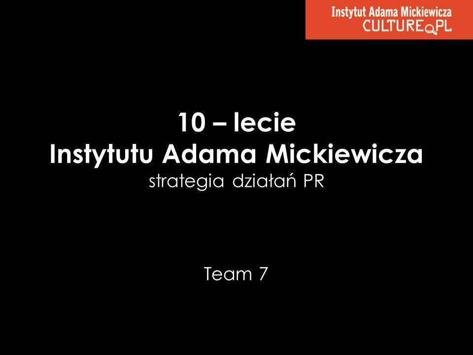10 – lecie Instytutu Adama Mickiewicza strategia działań PR Team 7