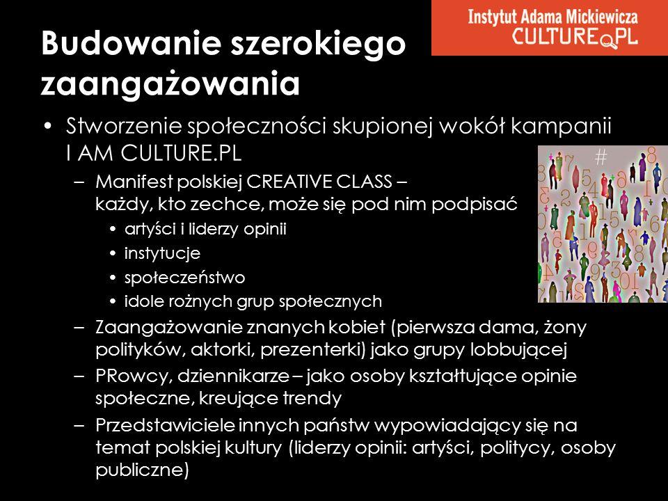 Budowanie szerokiego zaangażowania Stworzenie społeczności skupionej wokół kampanii I AM CULTURE.PL –Manifest polskiej CREATIVE CLASS – każdy, kto zec