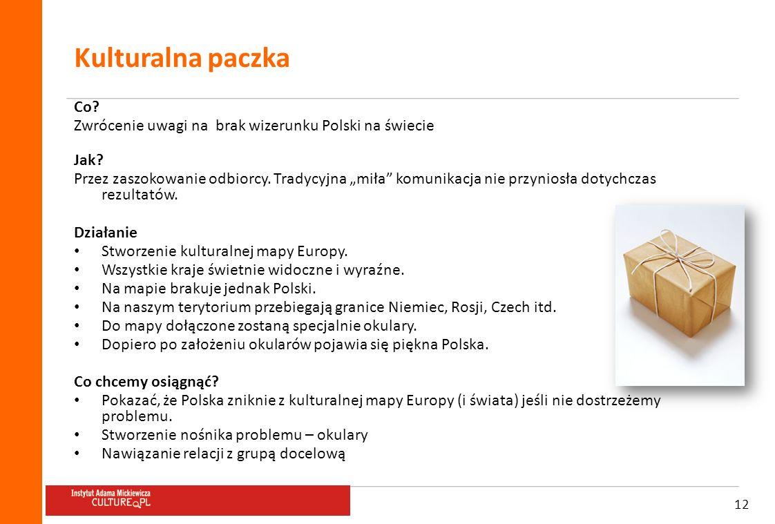 12 Kulturalna paczka Co? Zwrócenie uwagi na brak wizerunku Polski na świecie Jak? Przez zaszokowanie odbiorcy. Tradycyjna miła komunikacja nie przynio