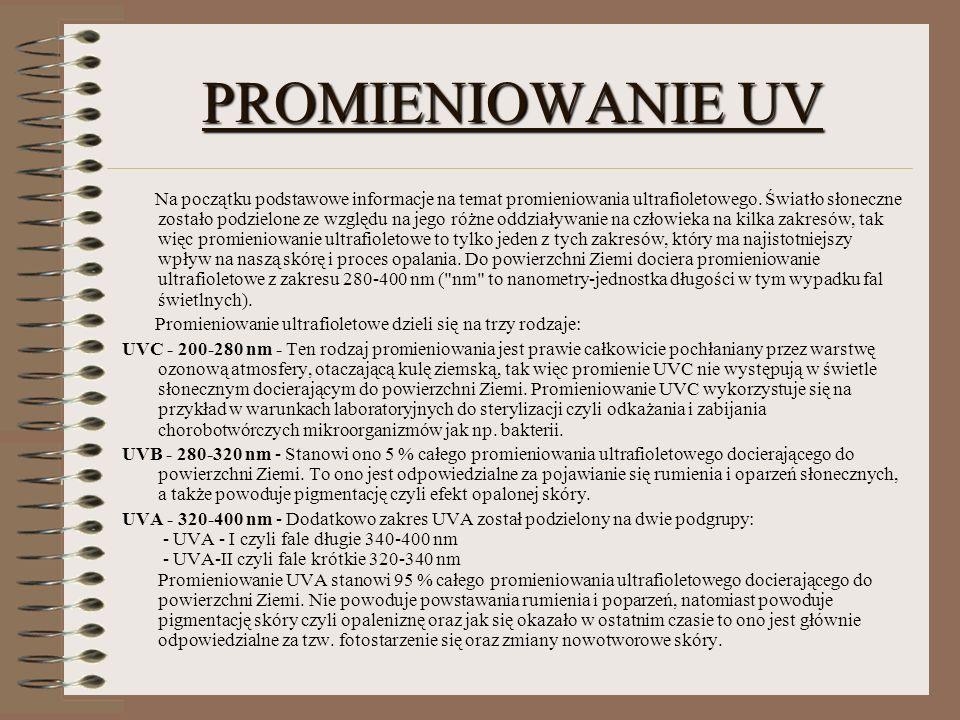 PROMIENIOWANIE UV Na początku podstawowe informacje na temat promieniowania ultrafioletowego. Światło słoneczne zostało podzielone ze względu na jego