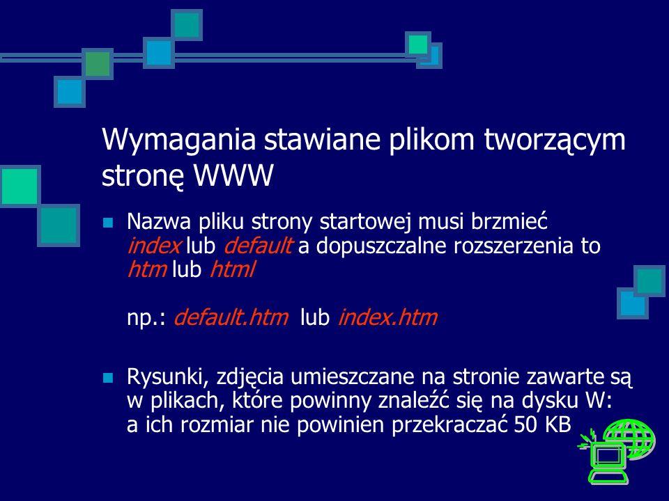 Wymagania stawiane plikom tworzącym stronę WWW Nazwa pliku strony startowej musi brzmieć index lub default a dopuszczalne rozszerzenia to htm lub html
