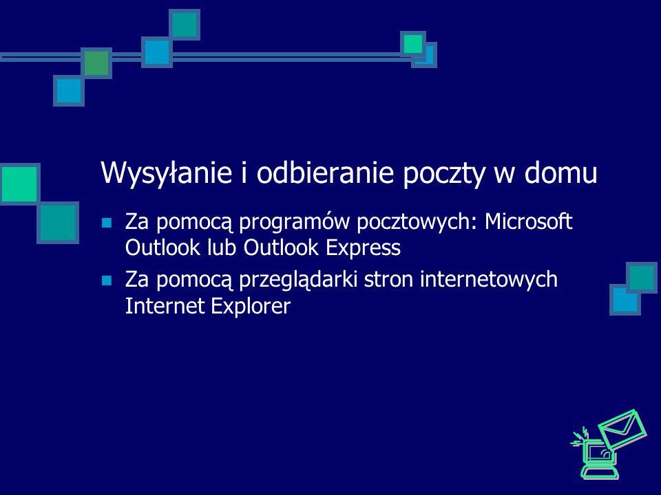 Wysyłanie i odbieranie poczty w domu Za pomocą programów pocztowych: Microsoft Outlook lub Outlook Express Za pomocą przeglądarki stron internetowych