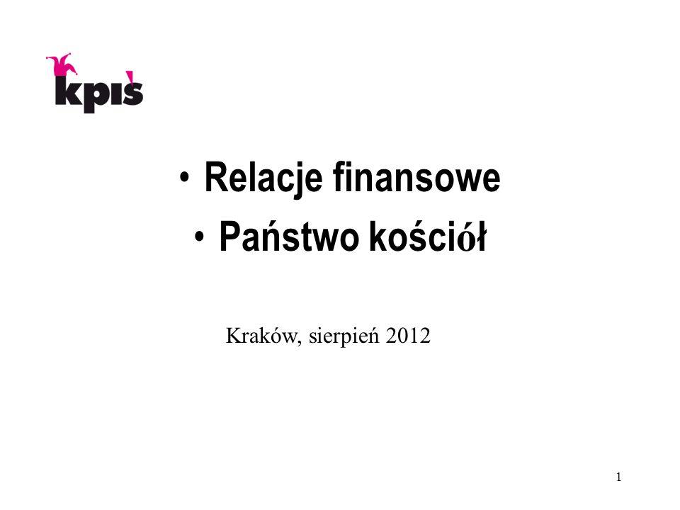 1 Relacje finansowe Państwo kości ó ł Kraków, sierpień 2012