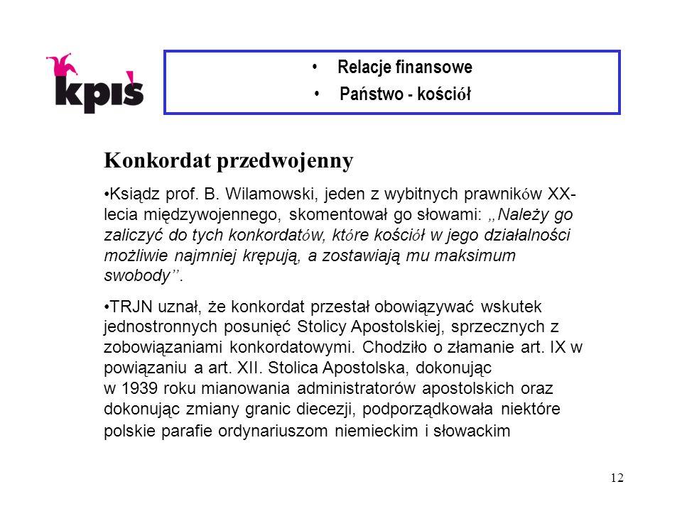 12 Relacje finansowe Państwo - kości ó ł Konkordat przedwojenny Ksiądz prof. B. Wilamowski, jeden z wybitnych prawnik ó w XX- lecia międzywojennego, s