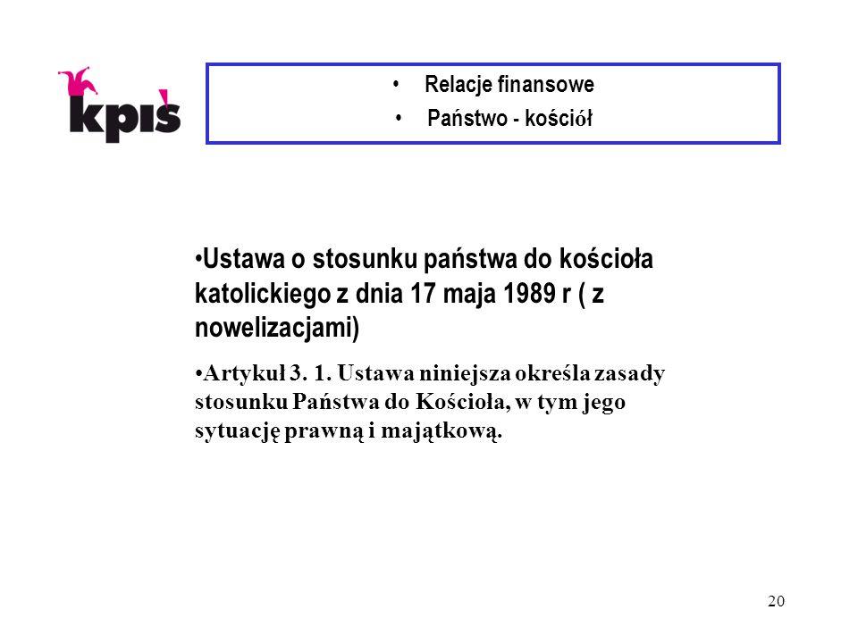 20 Relacje finansowe Państwo - kości ó ł Ustawa o stosunku państwa do kościoła katolickiego z dnia 17 maja 1989 r ( z nowelizacjami) Artykuł 3.
