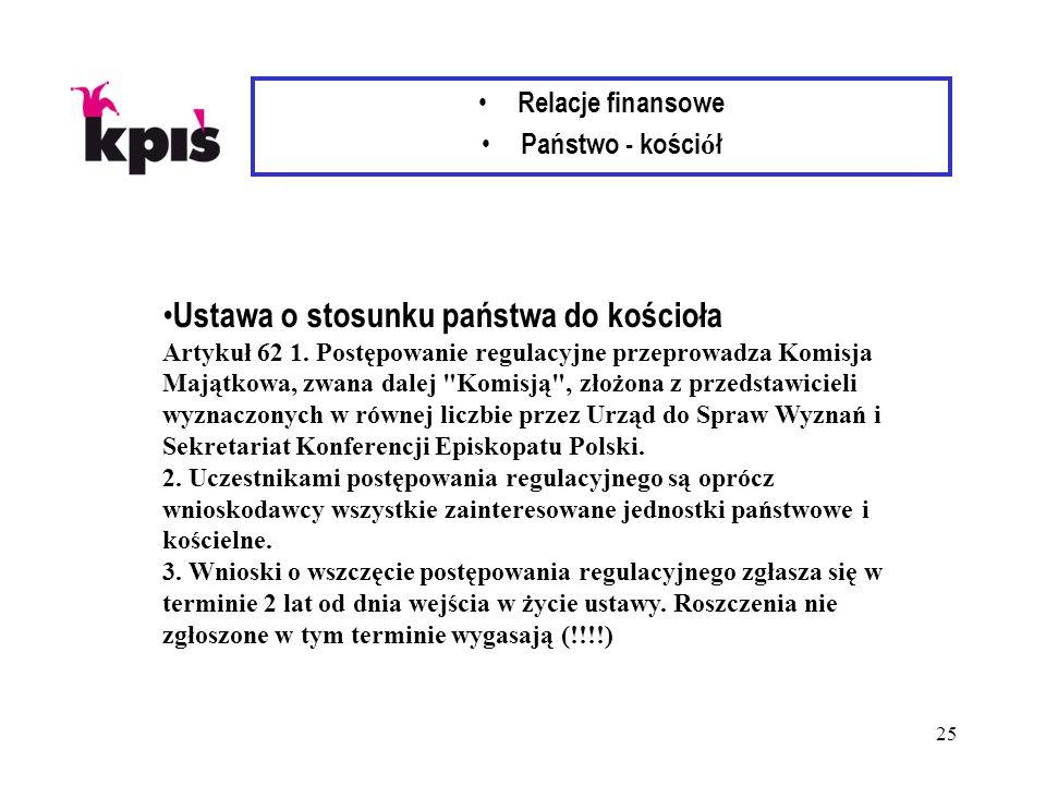 25 Relacje finansowe Państwo - kości ó ł Ustawa o stosunku państwa do kościoła Artykuł 62 1.