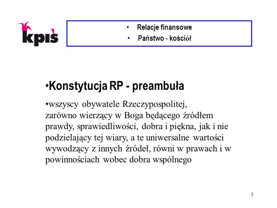 3 Relacje finansowe Państwo - kości ó ł Konstytucja RP - preambuła wszyscy obywatele Rzeczypospolitej, zarówno wierzący w Boga będącego źródłem prawdy