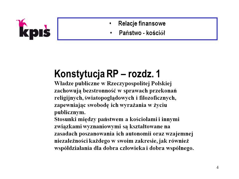 4 Relacje finansowe Państwo - kości ó ł Konstytucja RP – rozdz. 1 Władze publiczne w Rzeczypospolitej Polskiej zachowują bezstronność w sprawach przek